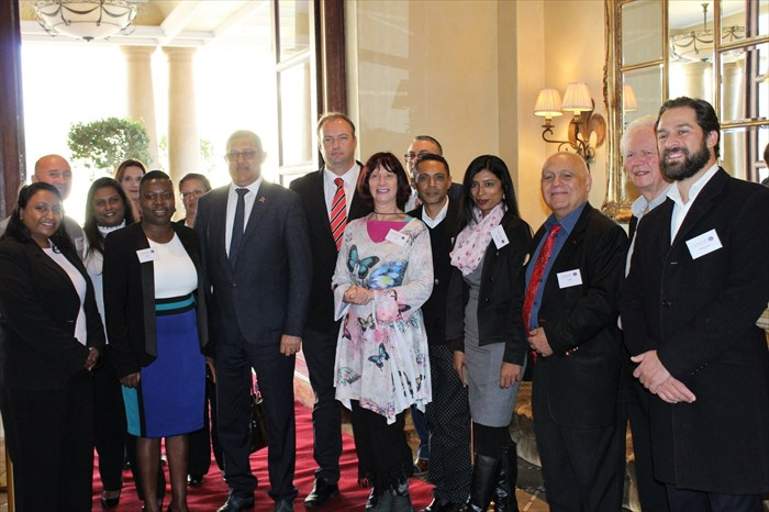 Pictured guests and speakers (left to right): Radhi Vandayar, Rob Oosthuizen, Eve Machabi, Honorary Mr. Narend Singh (Inkatha Freedom Party / Chief Whip in Parliament), Advocate Anthony Mitchell - Chief of Staff (Inkatha Freedom Party), Addi Lang, Willem Hechter. Nizaam Holmes, David Salomon, Rod Cusens and celebrity Forever Changed ambassador Emmanuel Castis (Photograph supplied with permission from Branded Communication)